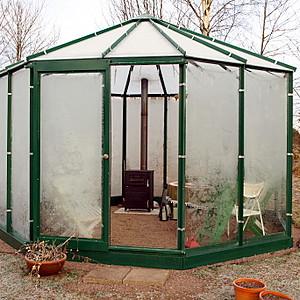 11 m² lustväxthus med skjutdörr